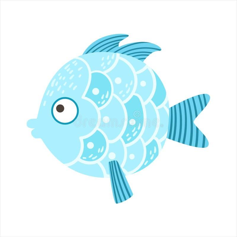 Azul redondo peixes coloridos fantásticos escalados do aquário, animal aquático do recife tropical ilustração royalty free