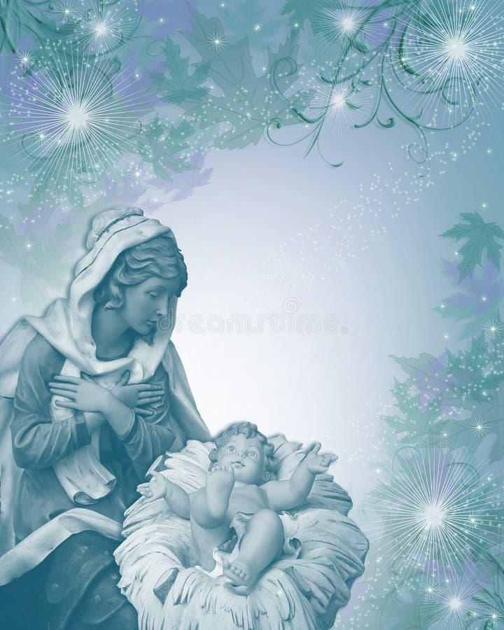 Azul religioso de la tarjeta de Navidad de la natividad imagen de archivo
