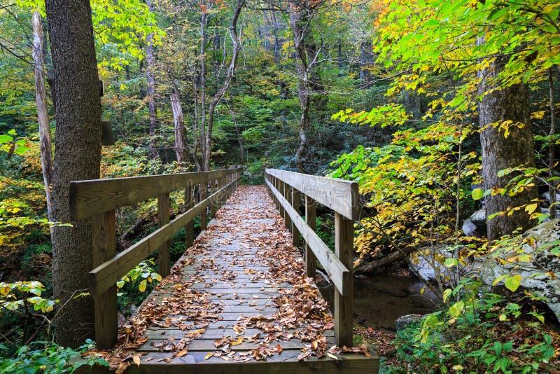 Azul Ridge Mountains North Carolina del puente de madera fotografía de archivo