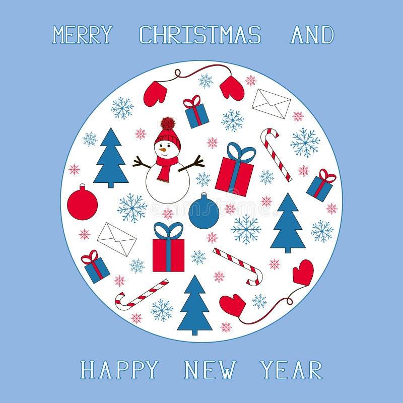 Azul, rojo y blanco de la tarjeta de Navidad foto de archivo