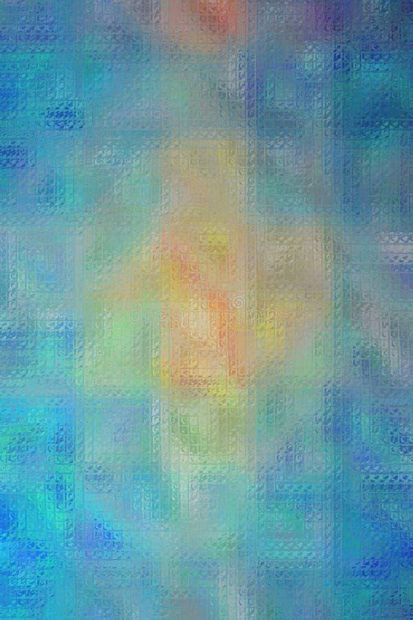 azul, rojo y mosaico brillante de la vainilla a través del ejemplo vertical del fondo de los ladrillos de cristal stock de ilustración