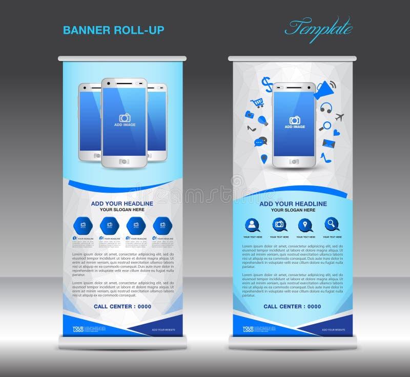 Azul role acima o molde da bandeira e o infographics móvel, suporte dis ilustração royalty free