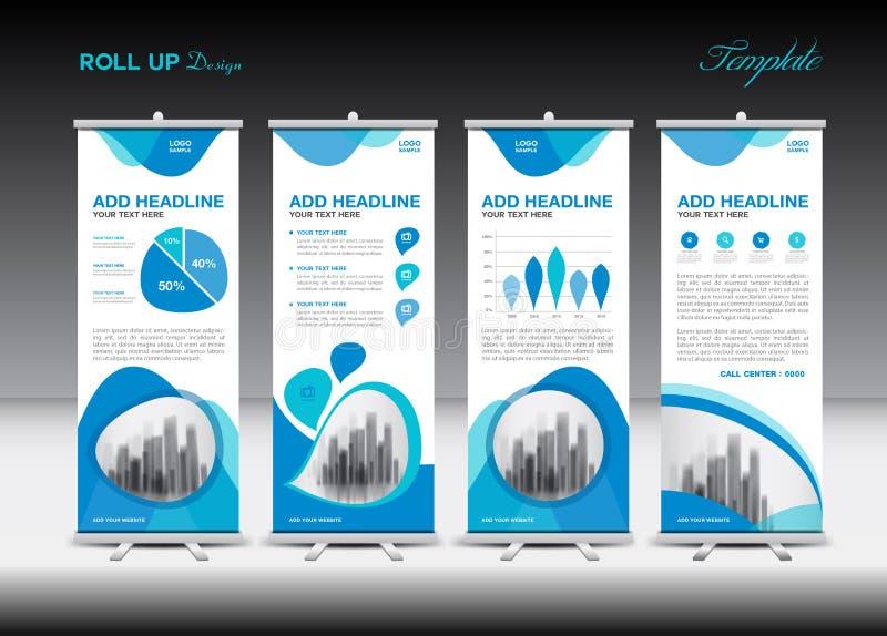 Azul role acima o molde da bandeira e o infographics, projeto do suporte ilustração stock
