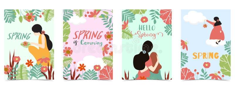 Azul, rosa, postal exhausta de la primavera de la mano verde con las mujeres, hija, flor y hoja ilustración del vector