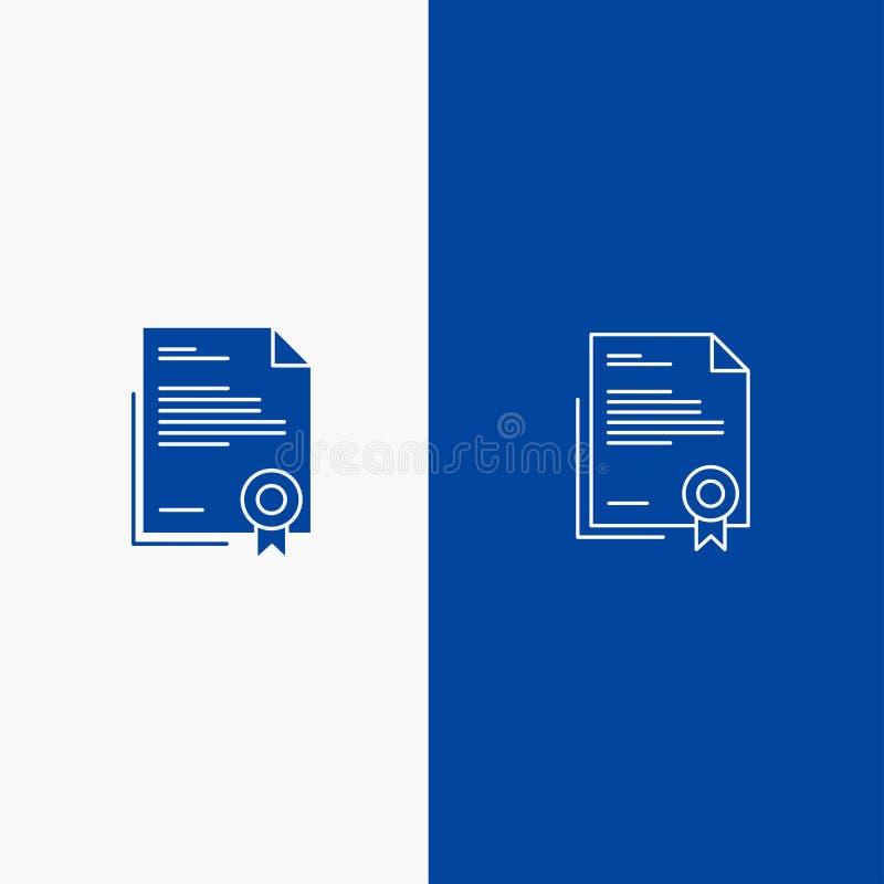 Azul sólido de bandera del icono sólido del certificado, del negocio, del diploma, del documento jurídico, de la letra, de la lín libre illustration