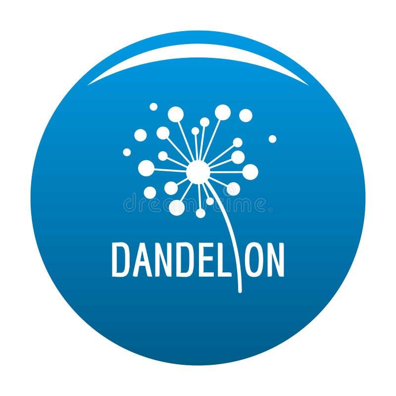 Azul secado do vetor do ícone do logotipo do dente-de-leão ilustração stock