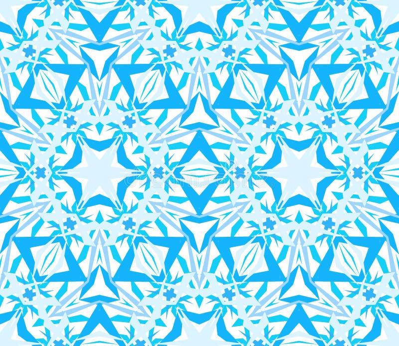 Azul sem emenda calidoscópico intrincado do teste padrão ilustração do vetor