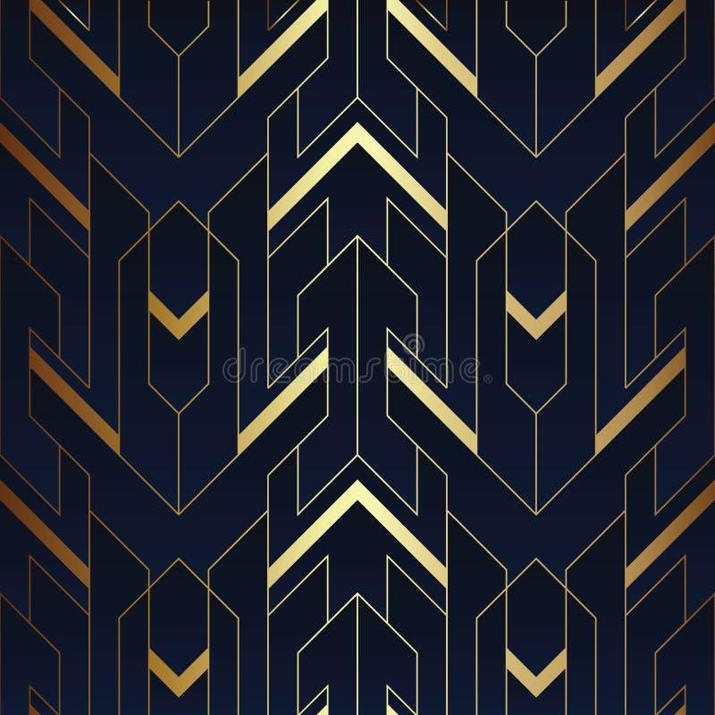 Azul sem emenda do deco da arte abstrato e teste padrão dourado 03 ilustração do vetor