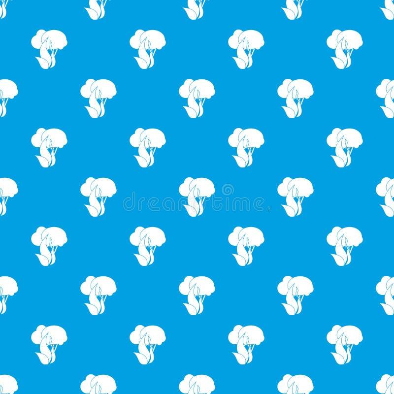 Azul sem emenda do teste padrão ardente das árvores de floresta ilustração royalty free