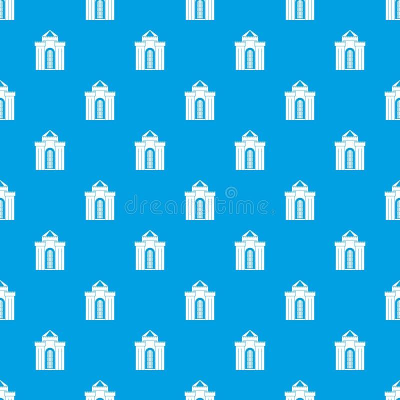 Azul sem emenda do teste padrão medieval do palácio ilustração do vetor
