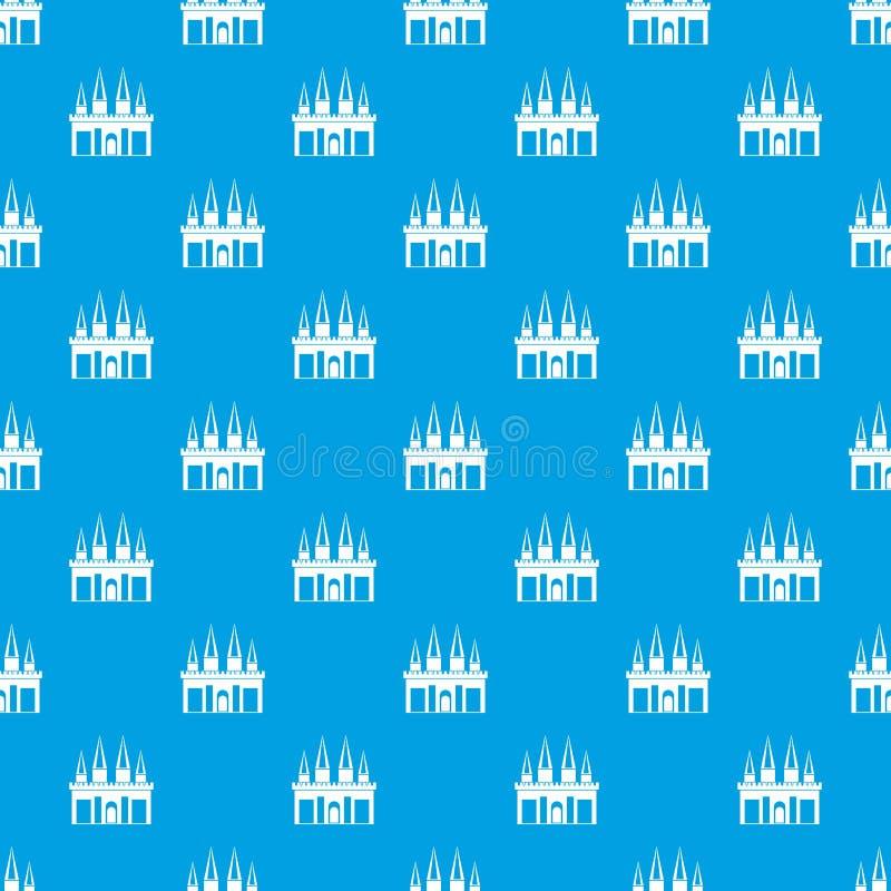 Azul sem emenda do teste padrão do palácio do reino ilustração stock