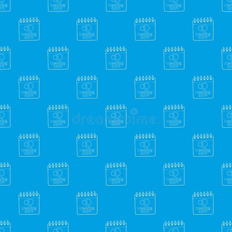 Azul sem emenda do vetor do teste padrão da data do casamento ilustração royalty free