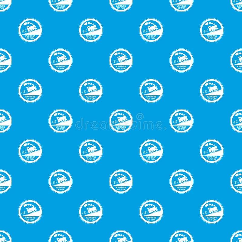 Azul sem emenda do vetor do teste padrão do sinal da viagem de trem ilustração royalty free
