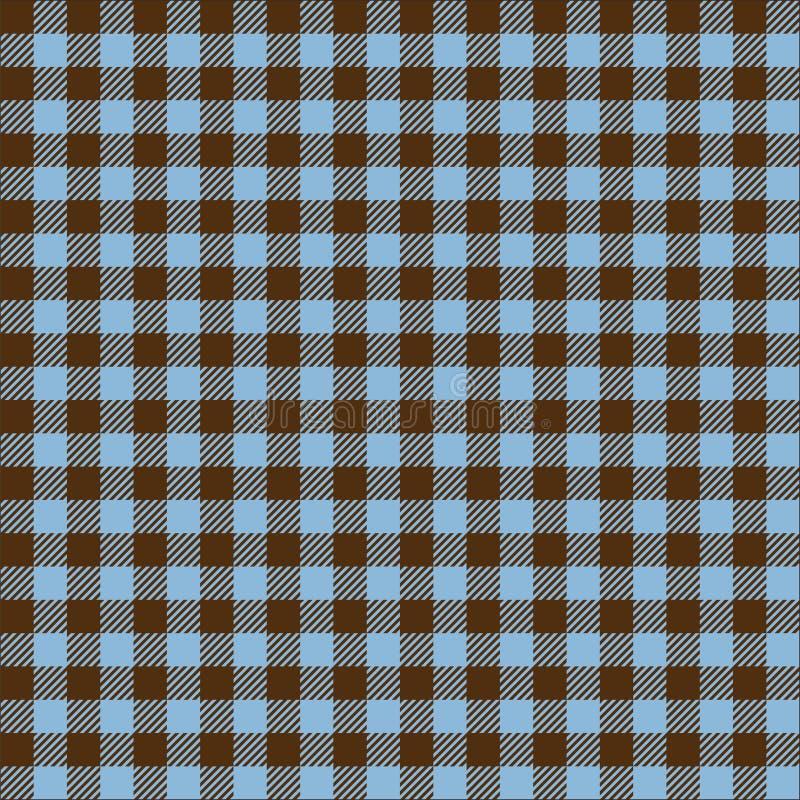 Azul sem emenda do vintage e textura quadriculado do fundo do teste padrão da tela de Brown ilustração royalty free