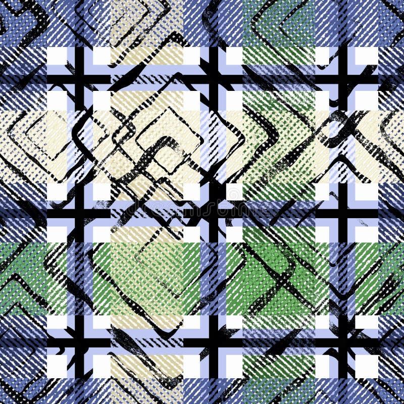 Azul sem emenda, fundo quadriculado verde da manta de tartã ilustração royalty free