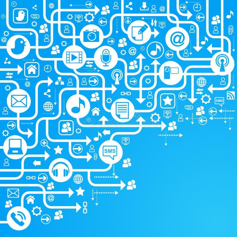 Azul social de la red del fondo