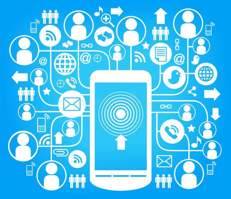 Azul social de la red del teléfono ilustración del vector
