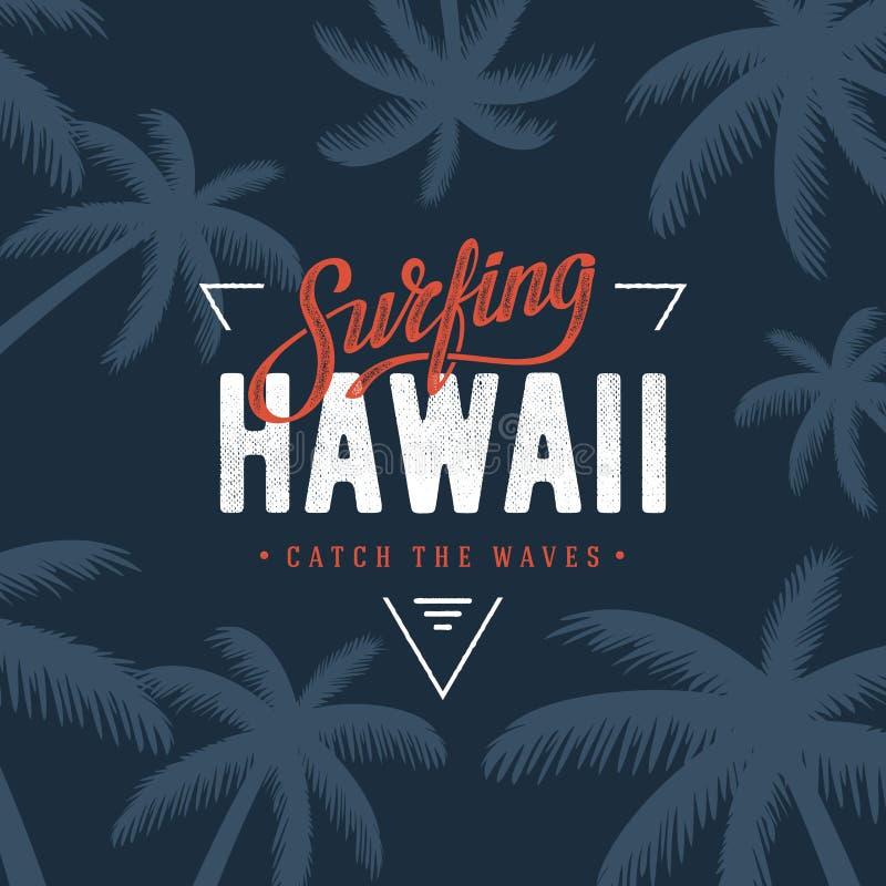 Azul surfando do triângulo de Havaí ilustração royalty free