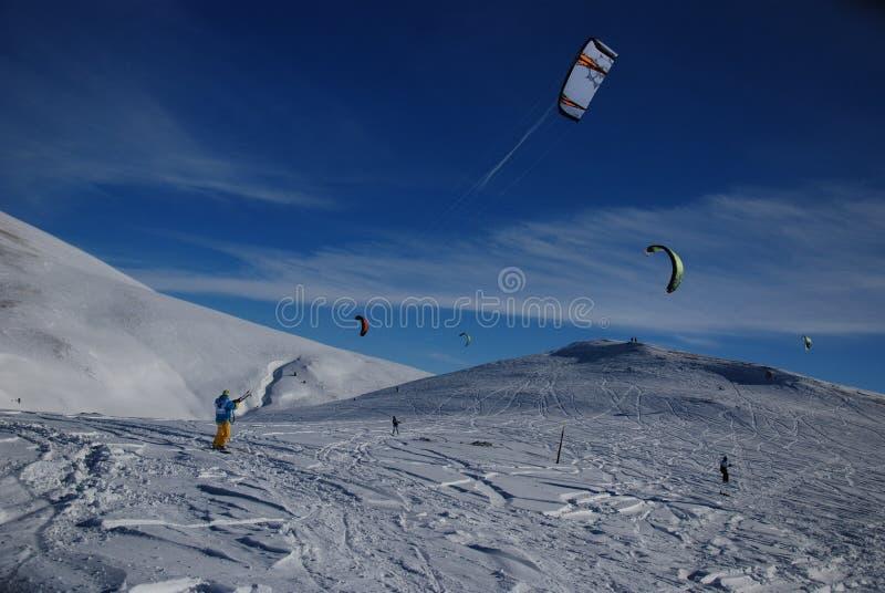 Azul, tarjeta, huésped, embarque, ejercicio, extremo, diversión, cometa, kiteboard, kiteboarding, kitesail, kitesurf, kiting, lag foto de archivo