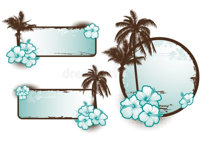 Azul tropical das bandeiras - vetor ilustração stock