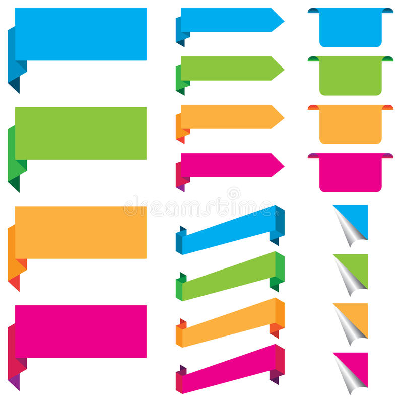 Azul, verde, anaranjado, y rosa de las etiquetas engomadas del web, de las etiquetas, y de la plantilla de las etiquetas aislada stock de ilustración