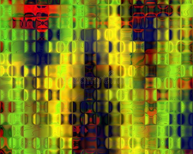 Azul vermelho do amarelo genético do verde dos blocos de cristal da arte ilustração royalty free