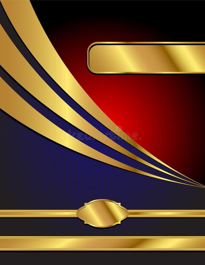 Azul, vermelho e fundo moderno do vetor do ouro ilustração stock