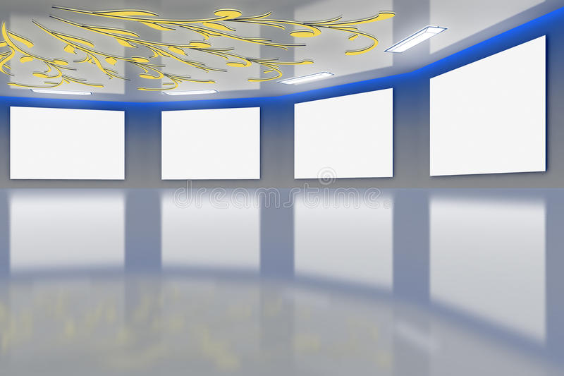 Azul virtual moderno da galeria ilustração stock