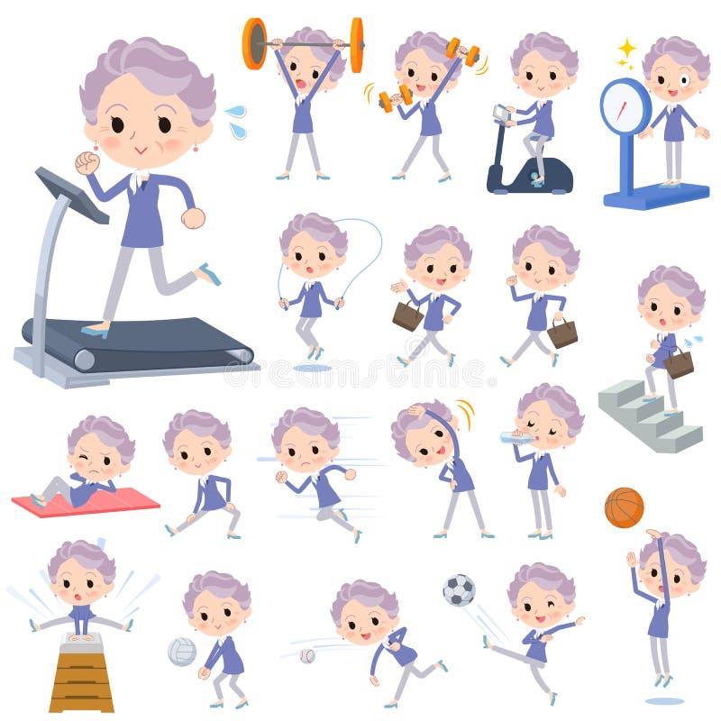 Azul women_Sports velhos & exercício de uma parte ilustração do vetor