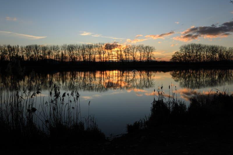 Azul y amarillo - puesta del sol sobre la charca imagen de archivo libre de regalías