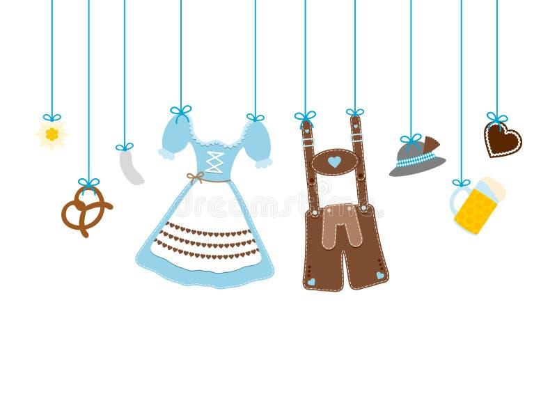 Azul y Brown rectos de los iconos de Oktoberfest de la ejecución libre illustration