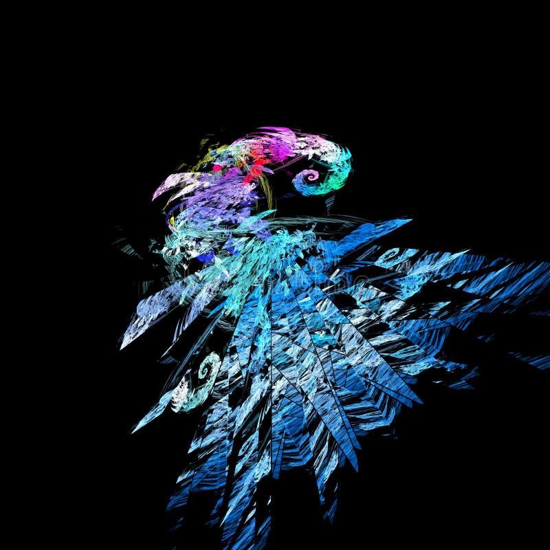 Azul y fractal roto rosa en negro stock de ilustración