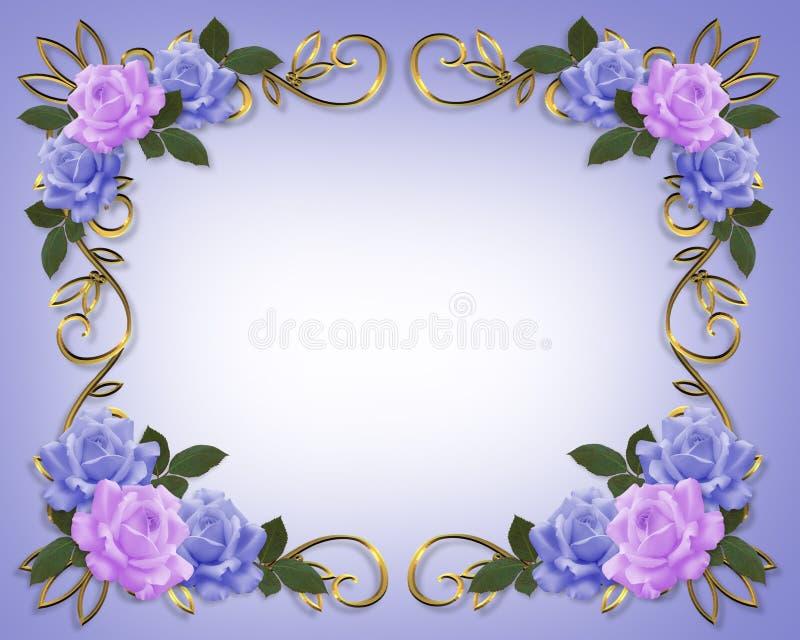 Azul y lavanda de la frontera de las rosas de la boda stock de ilustración