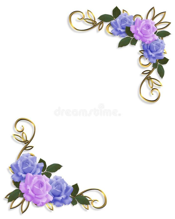 Azul y lavanda del diseño de la esquina de las rosas libre illustration