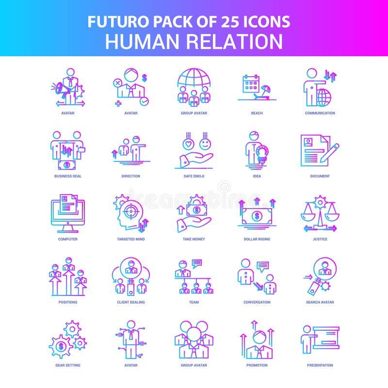 25 azul y paquete del icono de la relación humana de Futuro del rosa libre illustration