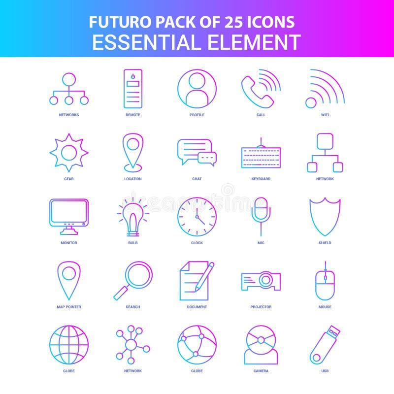 25 azul y paquete esencial del icono del elemento de Futuro del rosa libre illustration