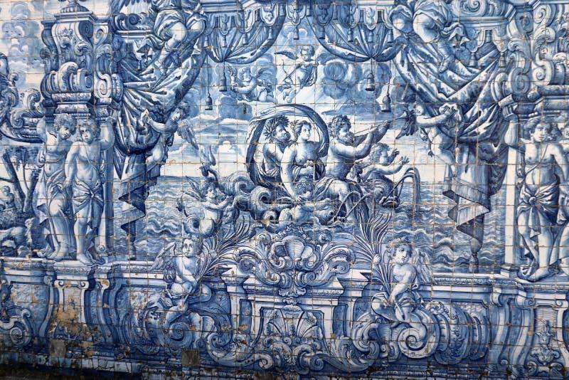 Azulejasen i kloster av Oportoen Catedral, Portugal Europa royaltyfria foton