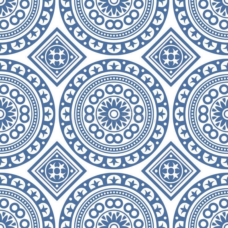 Azulejo无缝的葡萄牙瓦片蓝色样式 向量 皇族释放例证