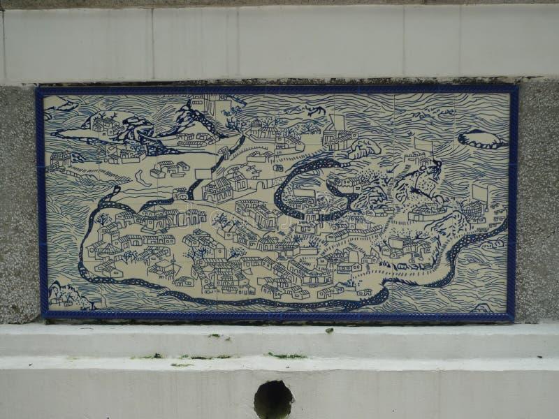 Azulejo葡萄酒澳门地图葡萄牙澳门瓷砖 图库摄影