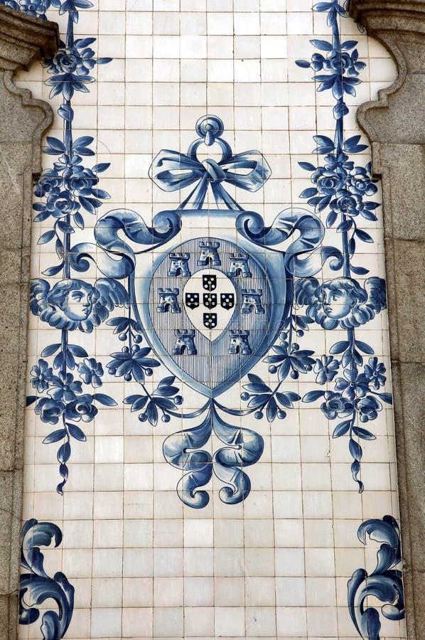 Azulejo antico nella città di Oporto, Portogallo. fotografie stock