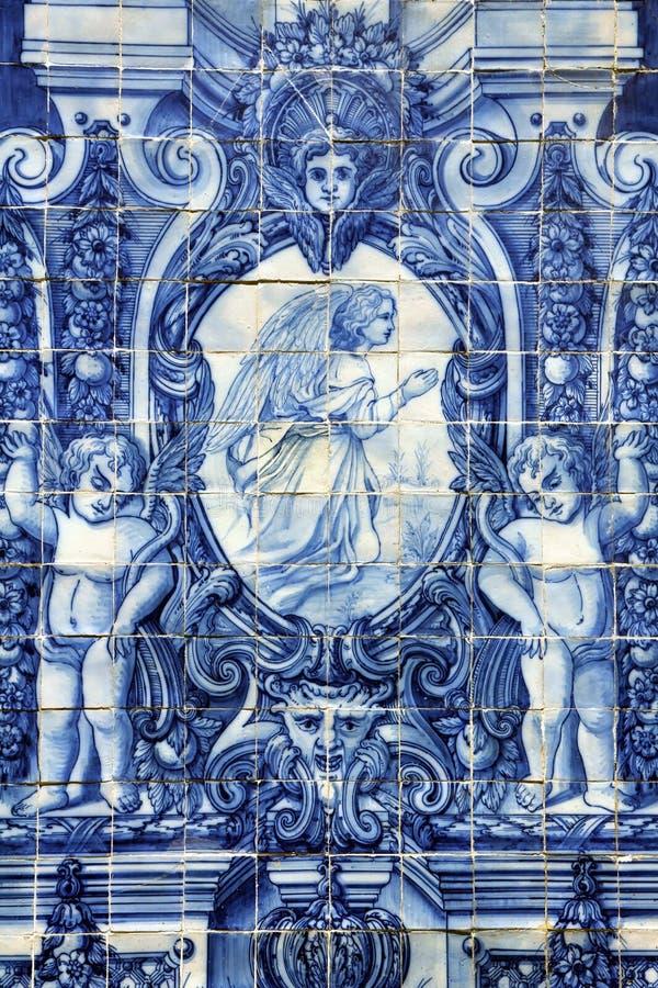 Azulejo antico nella città di Oporto, Portogallo. immagine stock libera da diritti
