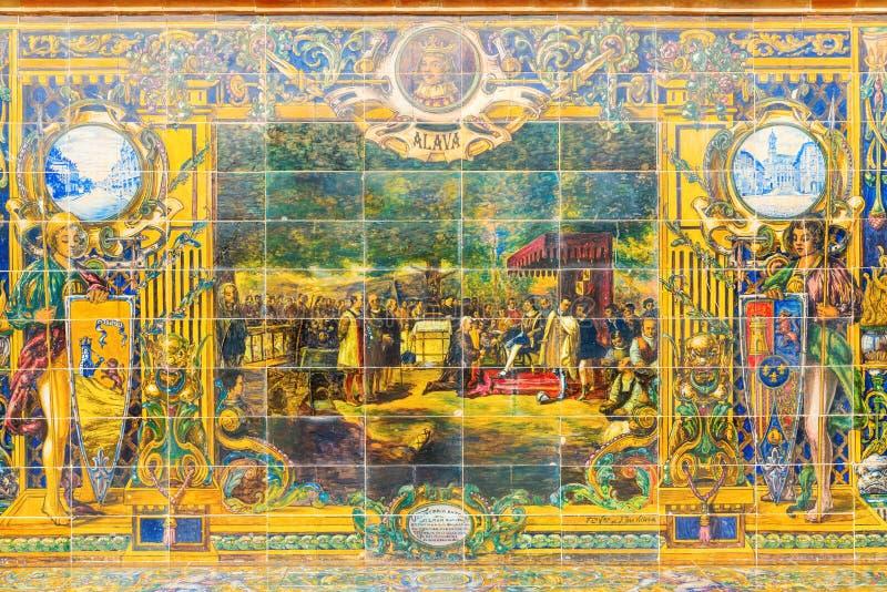 Azulejo antigo na plaza de Espana em Sevilha, Espanha imagem de stock