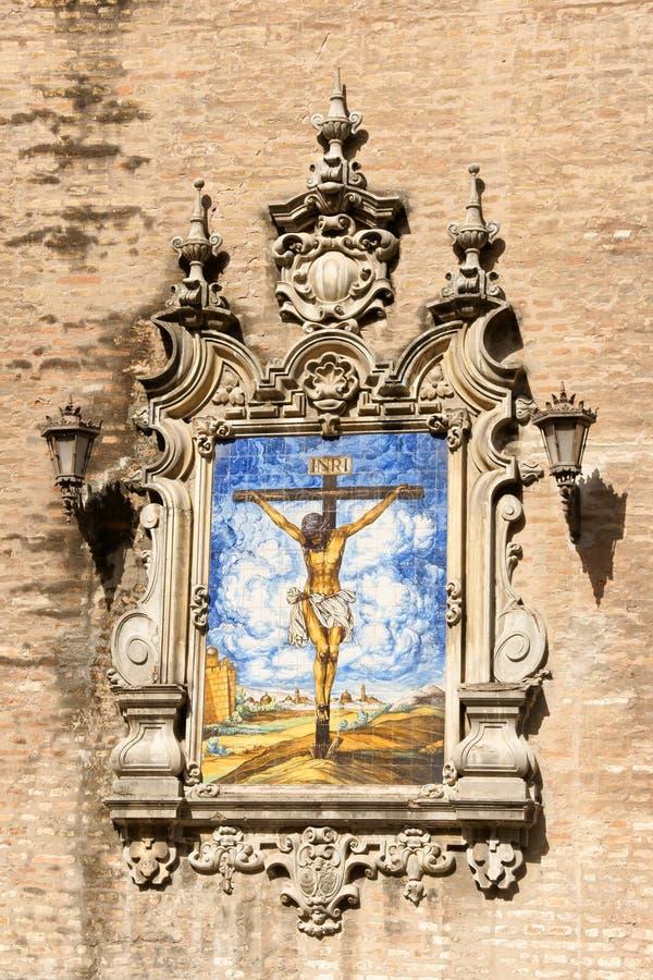 Azulejo de Jesus na cruz, Sevilha foto de stock royalty free