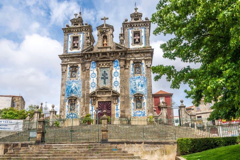 Azulejo decorated facade of church Saint Ildefonso in Porto ,Portugal. Azulejo decorated facade of church Saint Ildefonso in Porto - Portugal royalty free stock photos