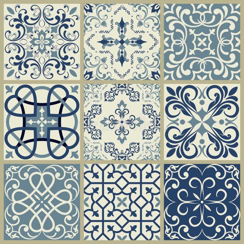 Лиссабон геометрическое Azulejo кроет мозаику черепицей картины вектора, португальских или испанских ретро старую плиток, среднез бесплатная иллюстрация