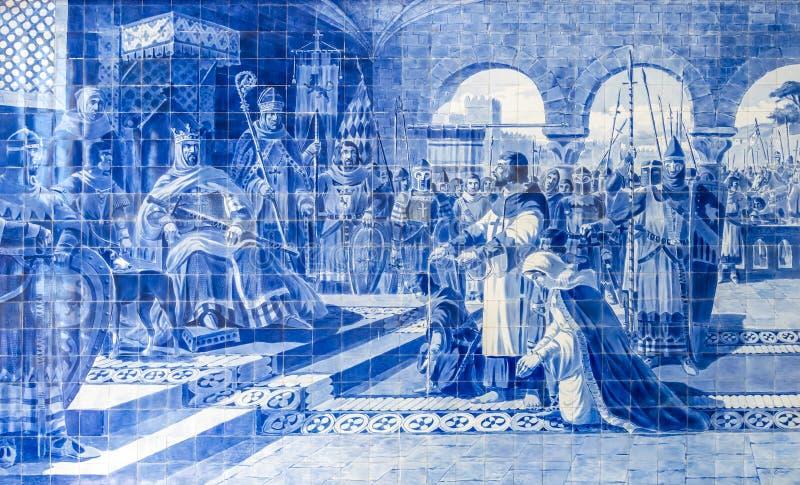 Azulejo en São Bento Railway Station, Oporto, Portugal fotografía de archivo