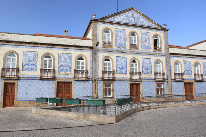 Azulejo facade in Aveiro. Portugal stock photo