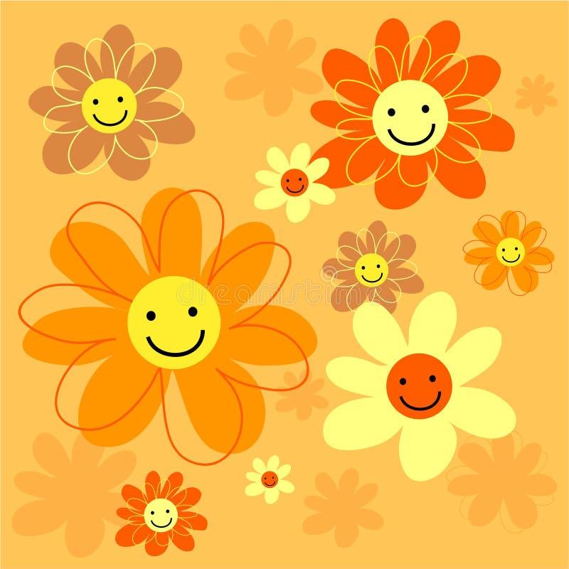 Azulejo feliz de las flores stock de ilustración