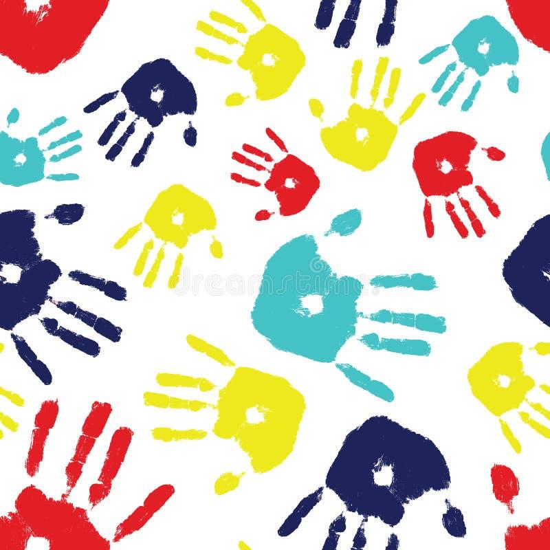 Azulejo inconsútil de Handprint del autismo stock de ilustración