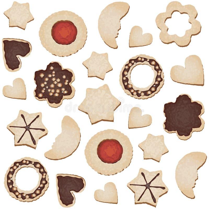 Azulejo inconsútil de las galletas de la Navidad stock de ilustración